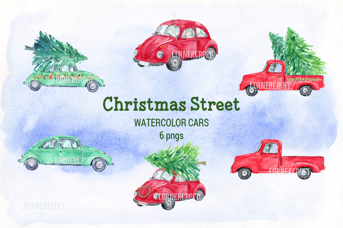Watercolor Christmas Street  example image 4