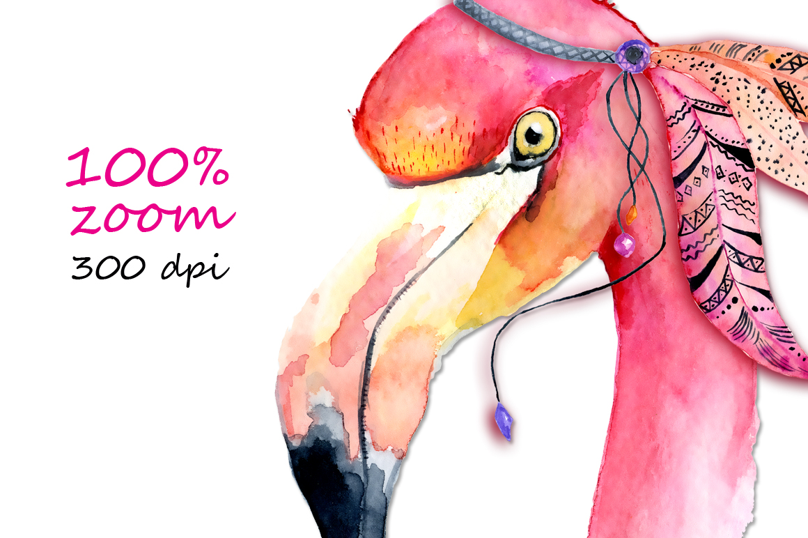Boho flamingo Watercolor set example image 4