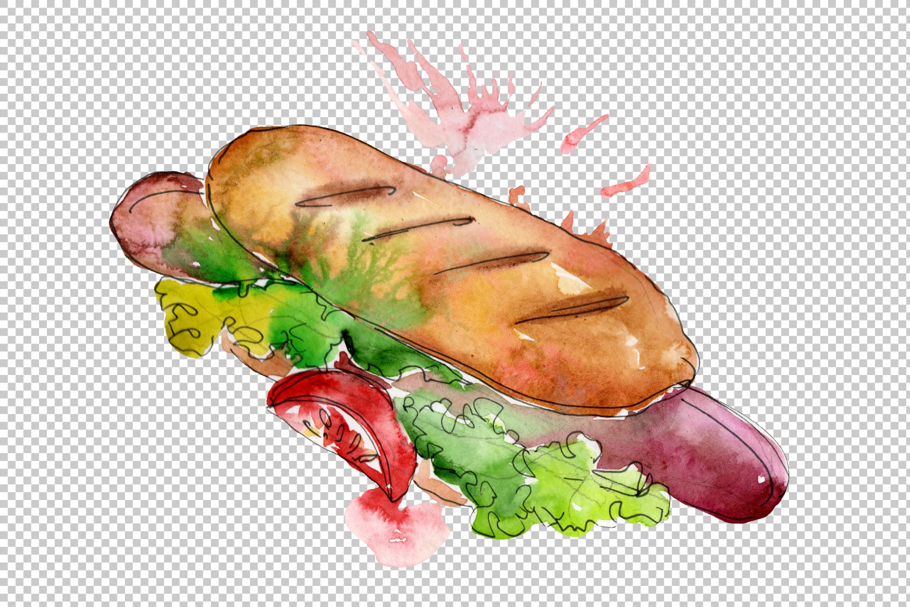 Hot dog in Ukrainian watercolor png example image 6