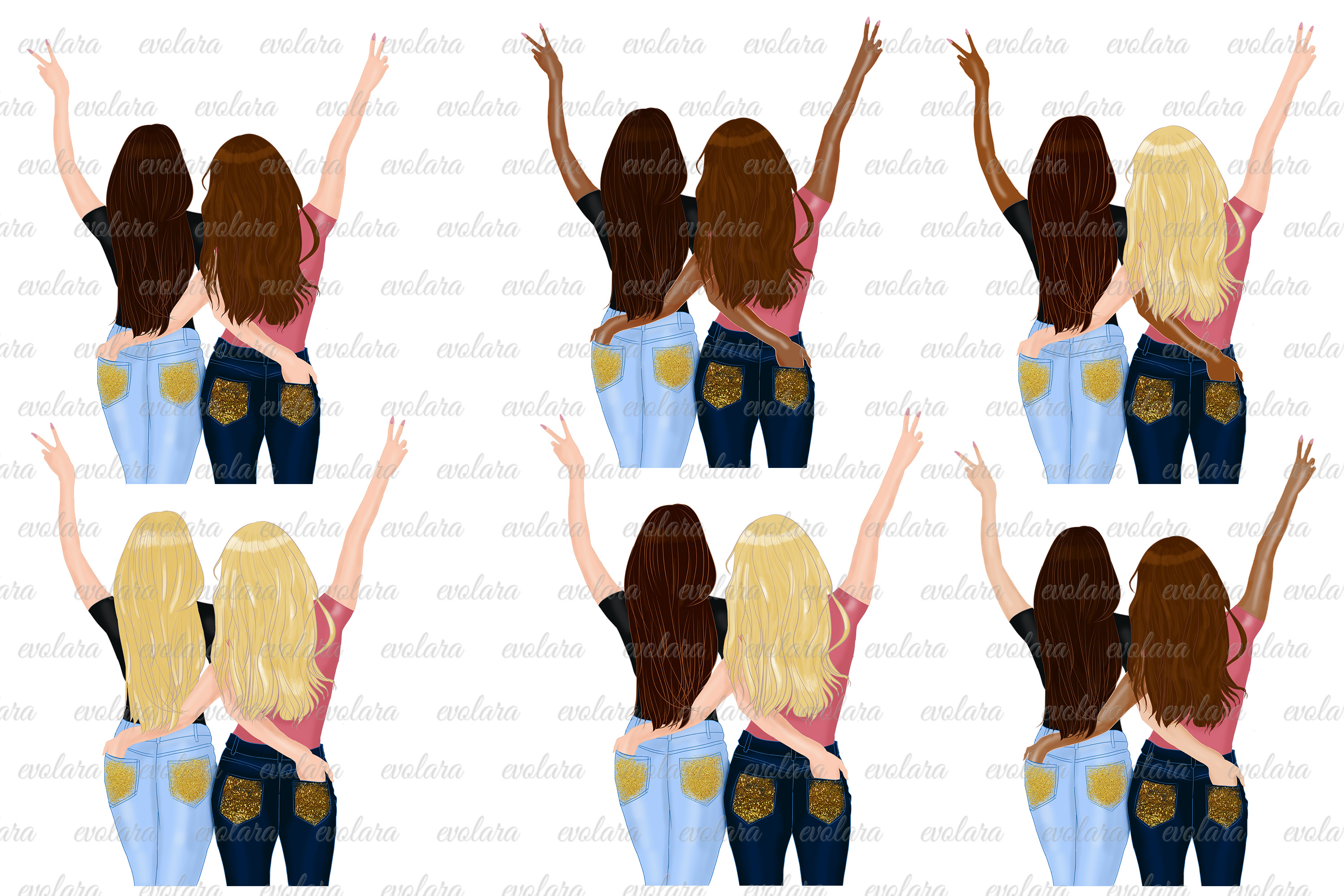 Best Friends Clipart Besties Clipart Friends Clipart BFF example image 2