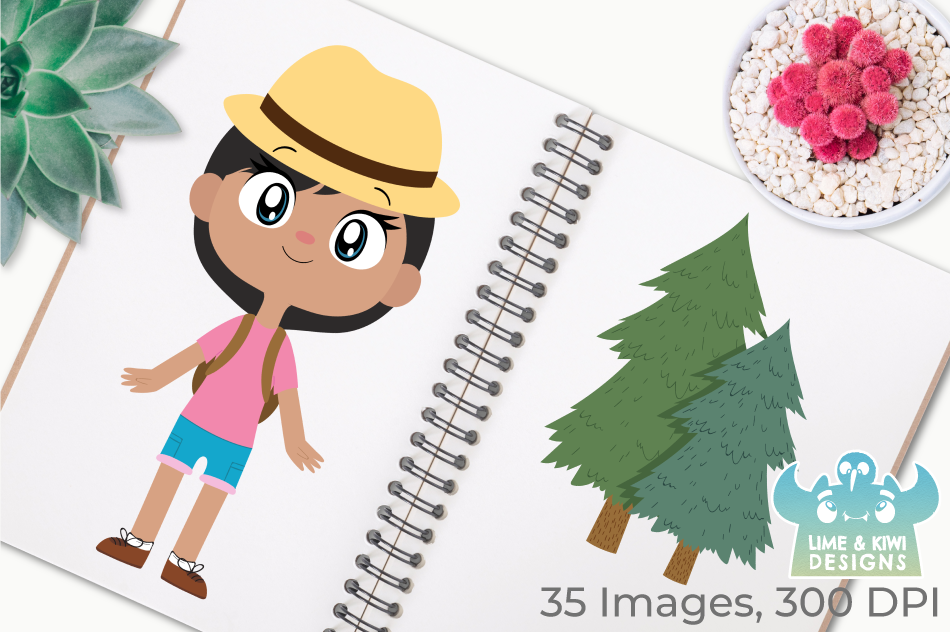 Camping Girls Clipart, Instant Download Vector Art example image 3