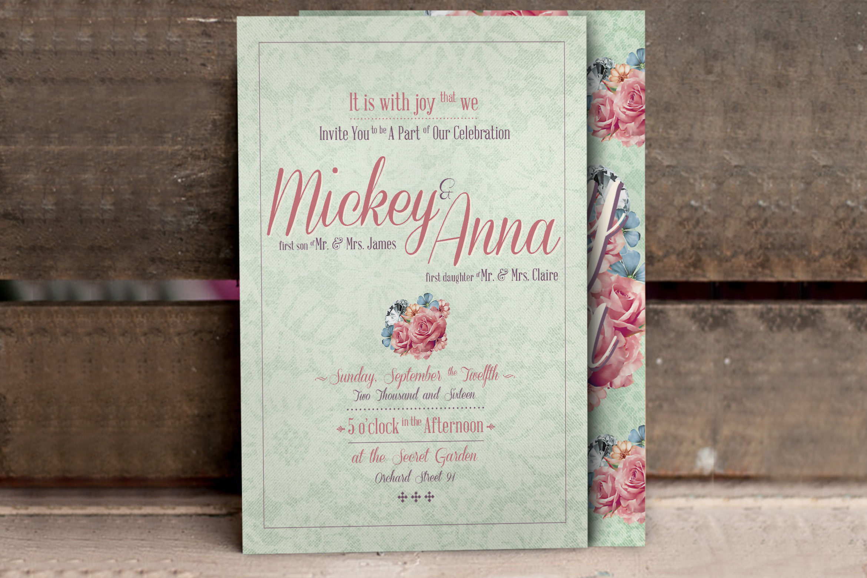 Flower Pattern Wedding Invitation example image 2