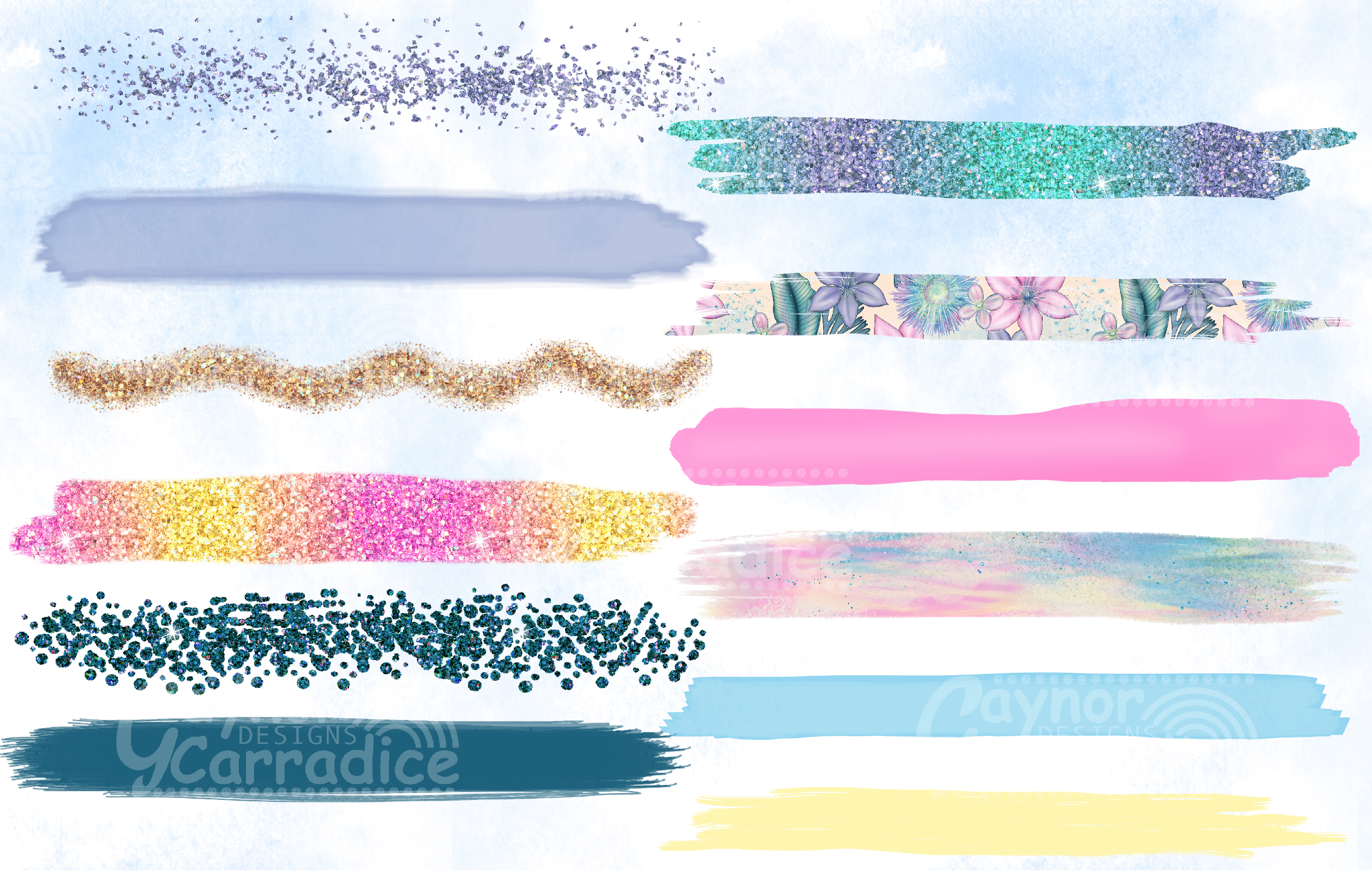 Mermaid paint brush strokes collection example image 2