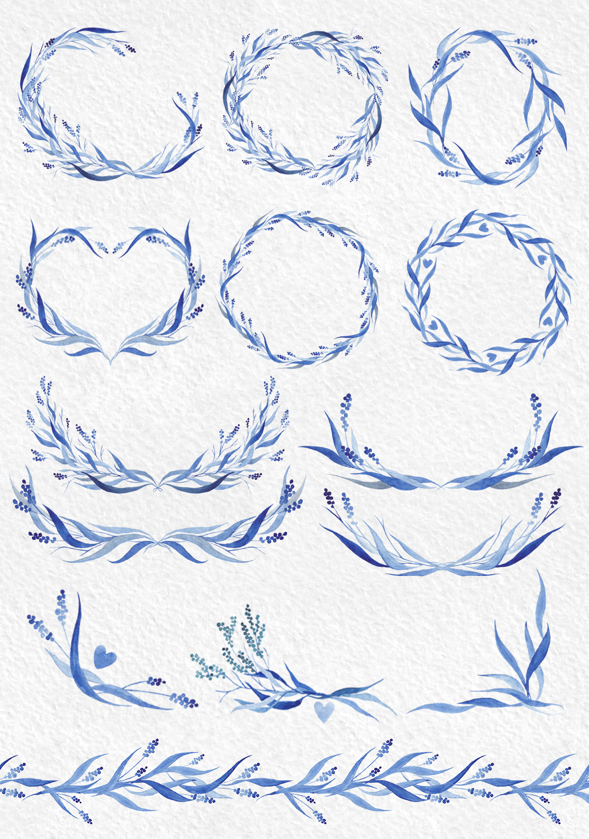 Watercolor design set in blue tones example image 4