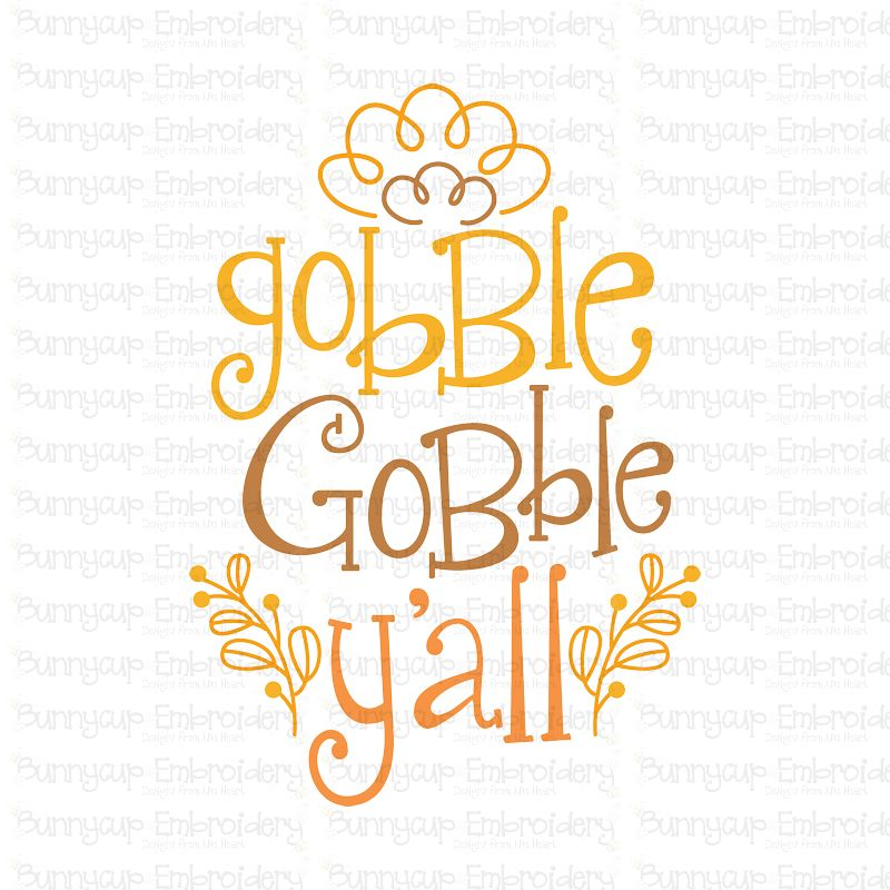Gobble Gobble Y'All - SVG, Clipart, Printable example image 2