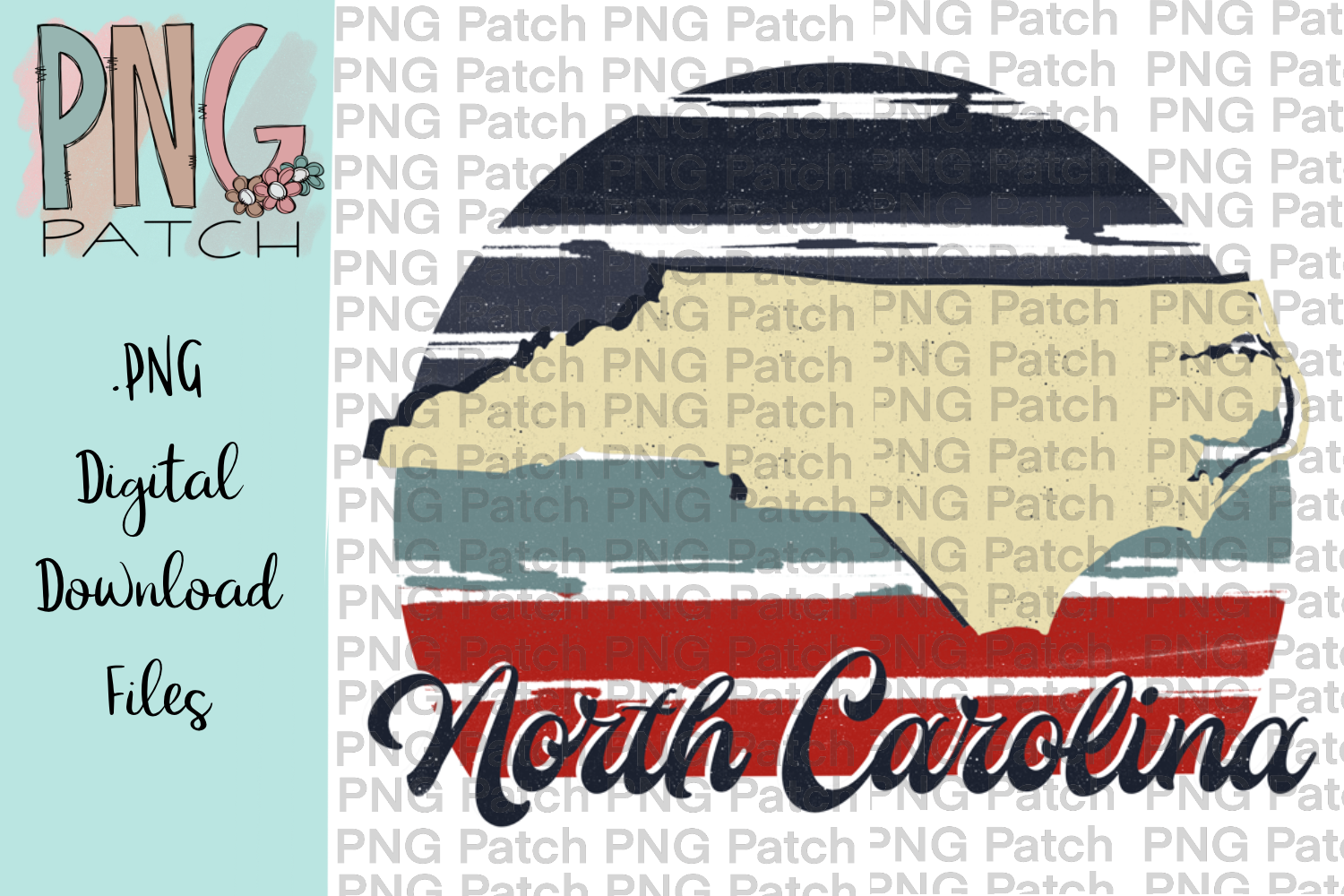 Retro Red, White, and Blue, North Carolina, State PNG File example image 1
