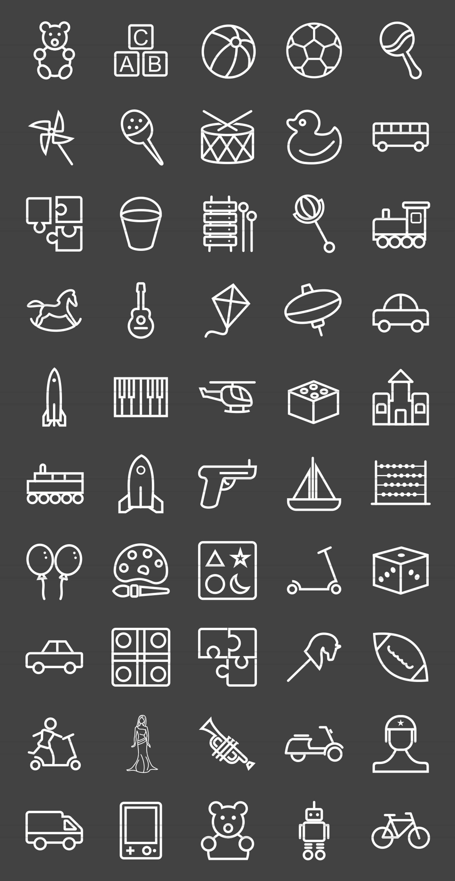 50 Toy Set Line Inverted Icons example image 2