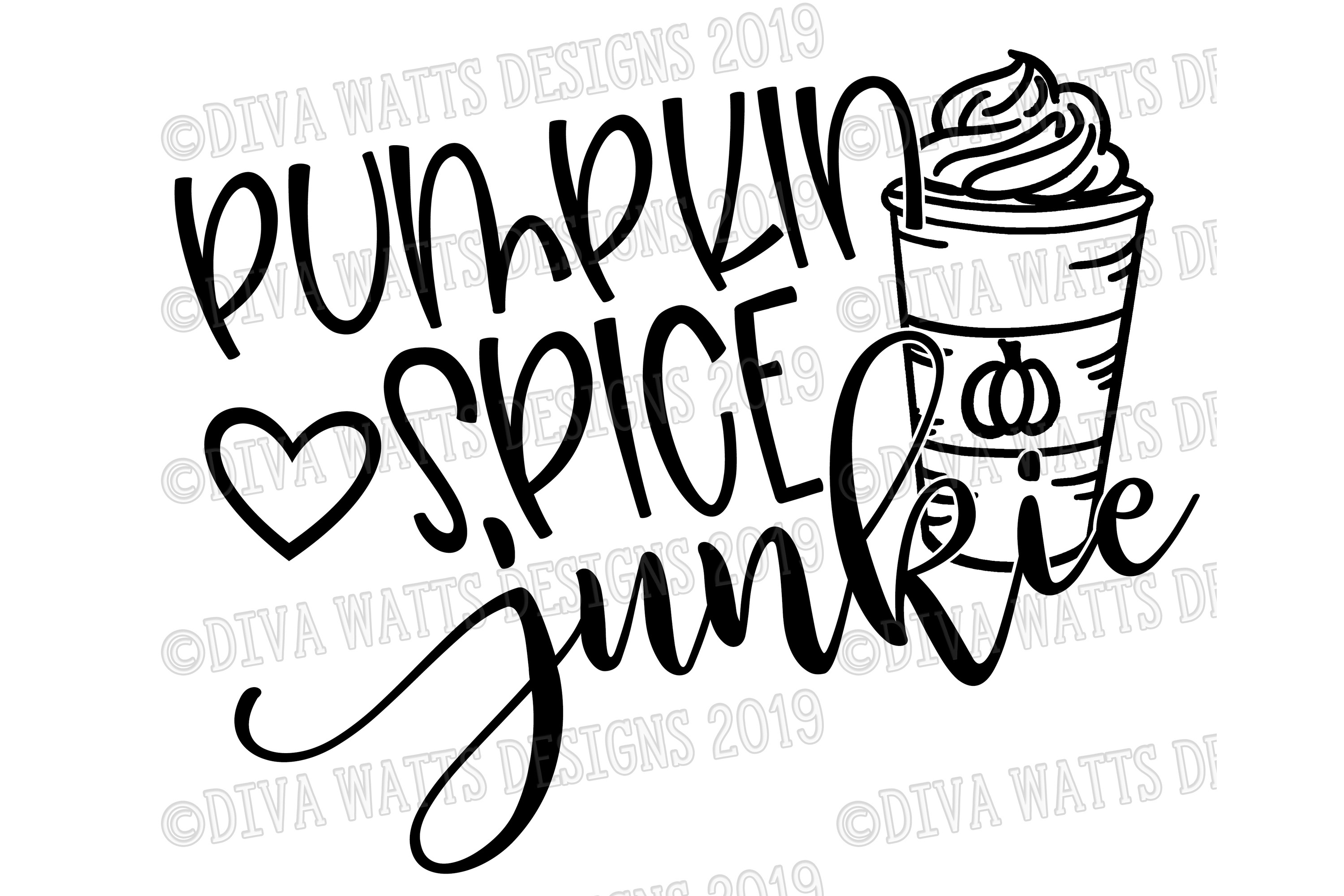 Pumpkin Spice Junkie With Latte and Heart Fall Cutting File example image 2