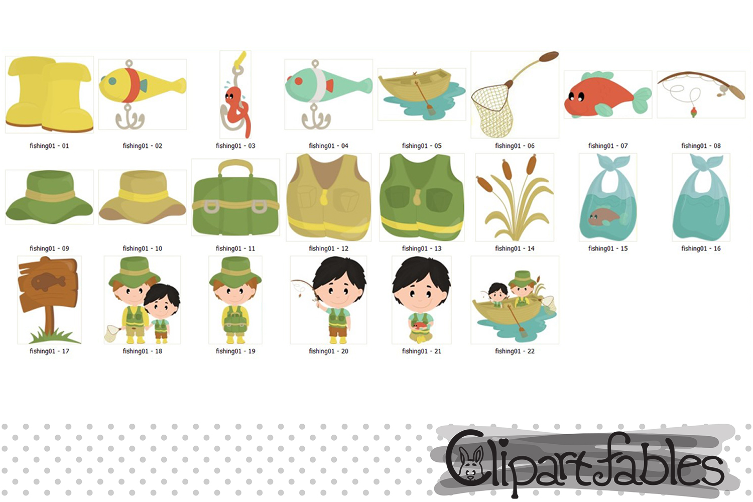 FISHING clipart, Cute FATHER'S DAY clip art, Instant Downloa example image 2