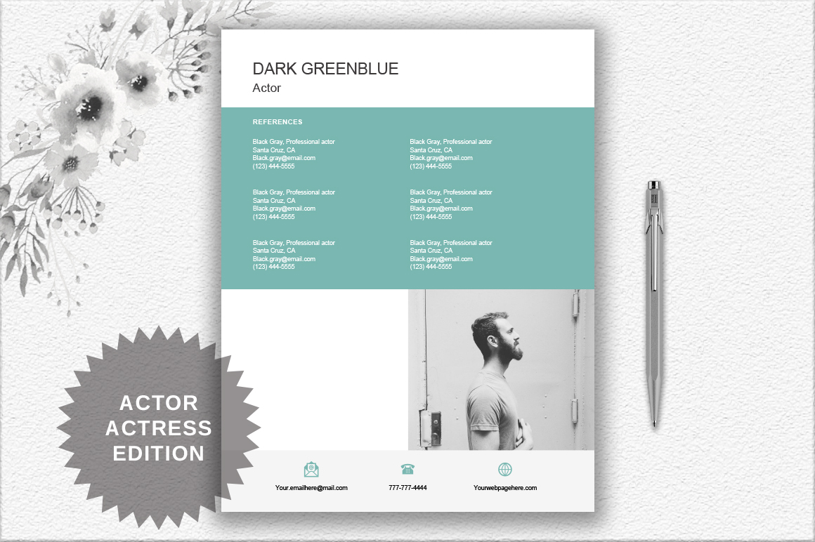 Modern Resume Template | Actor/Actress example image 2