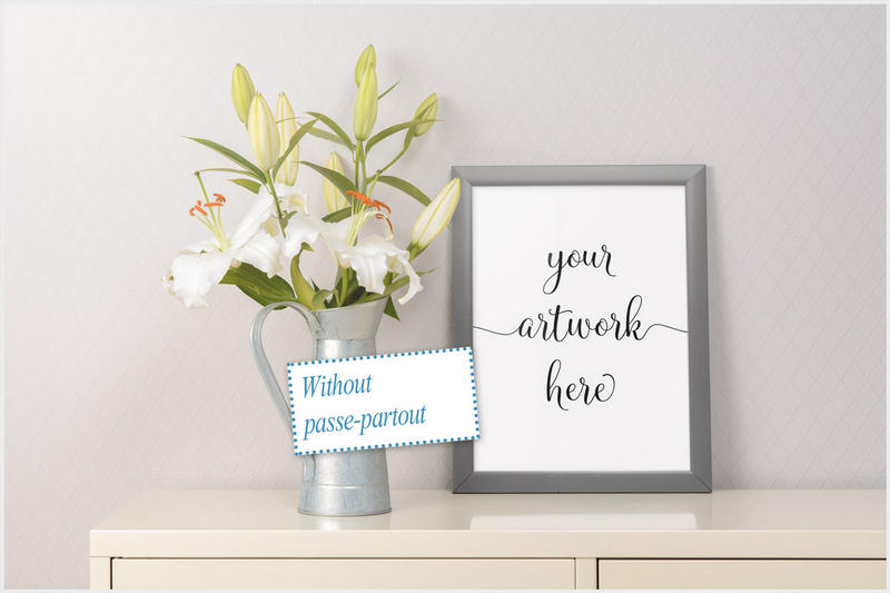 Frame mockup - clean bright interior lily flowers example image 4