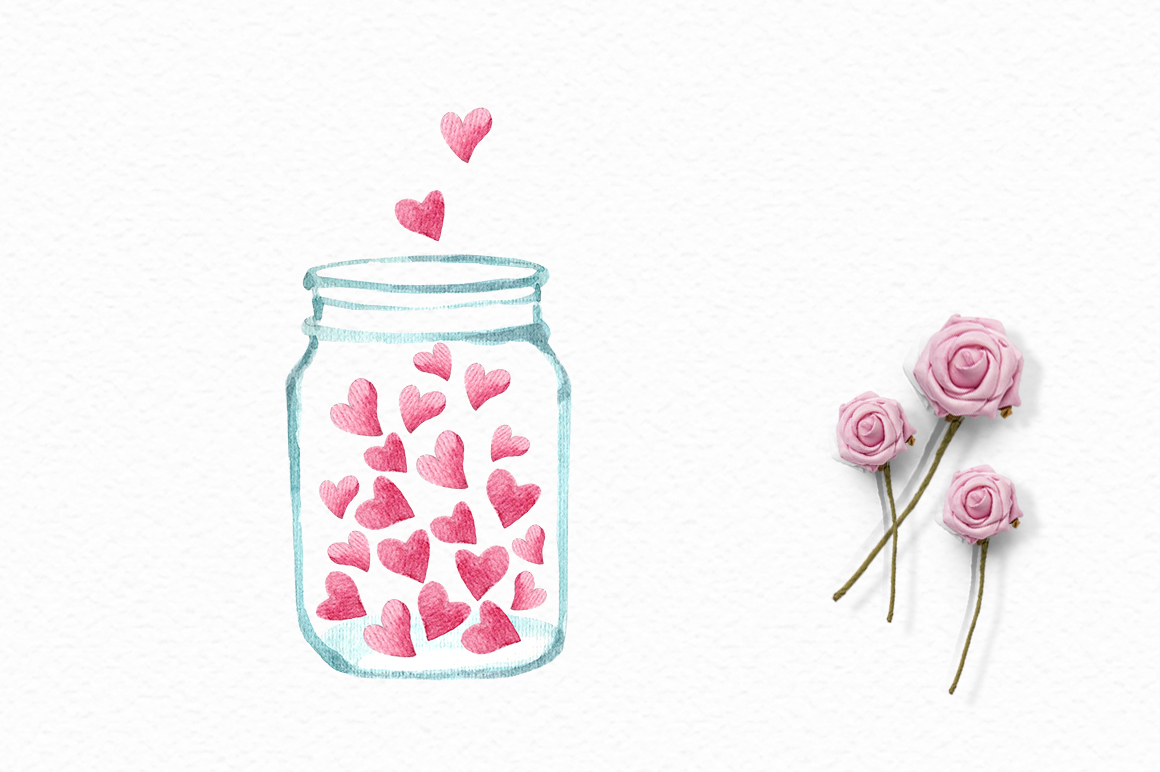 Valentine's Day watercolor clipart example image 4