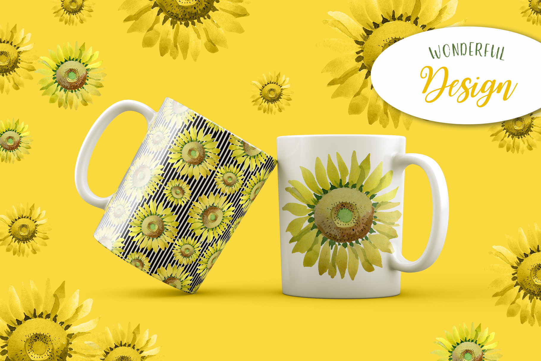 Sunflower Yellow Watercolor png example image 7