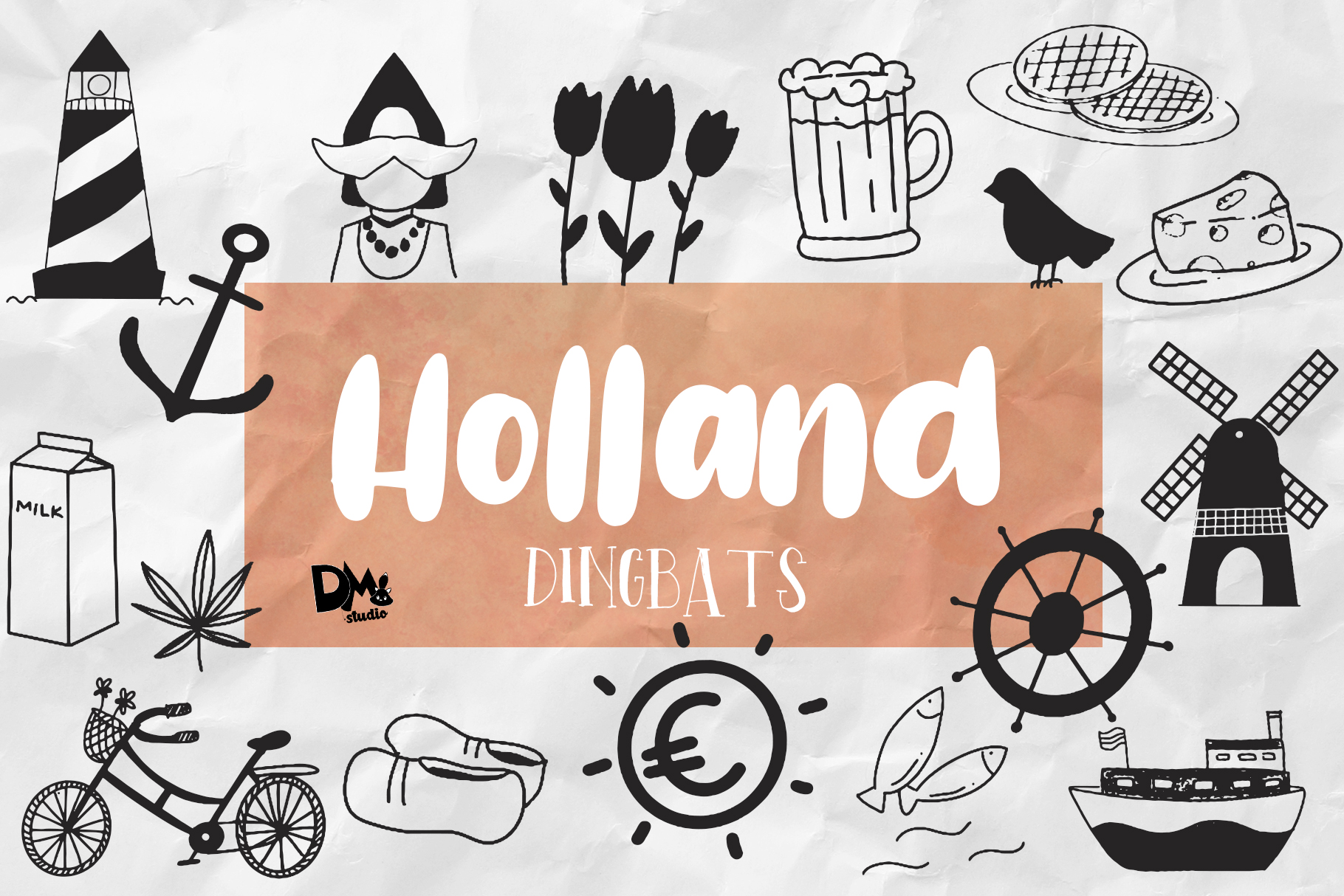 Holland Dingbats Font - Plus EXTRA example image 1