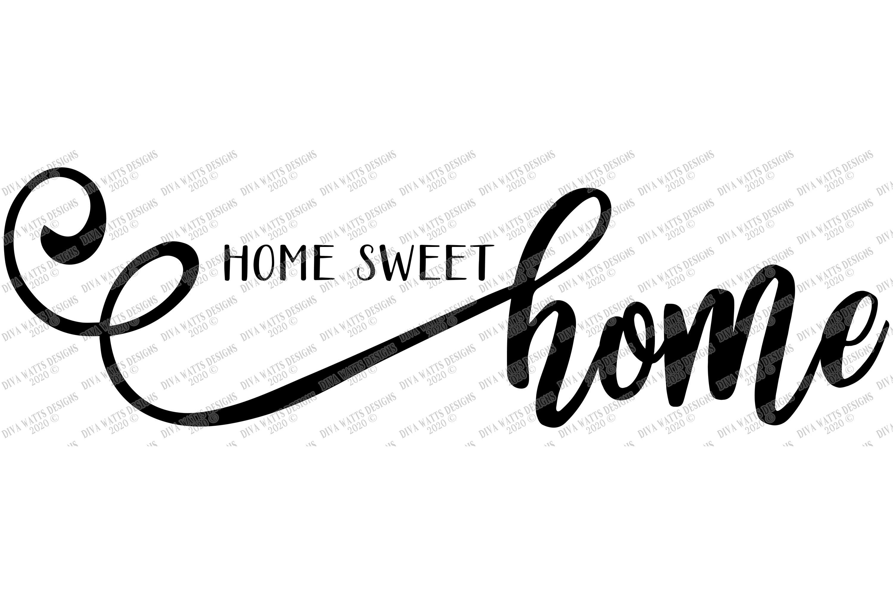 Home Sweet Home - Farmhouse Script With Tails - SVG example image 2