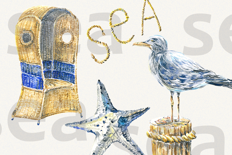 Vacation clipart, summer clipart, watercolor sea clipart example image 5