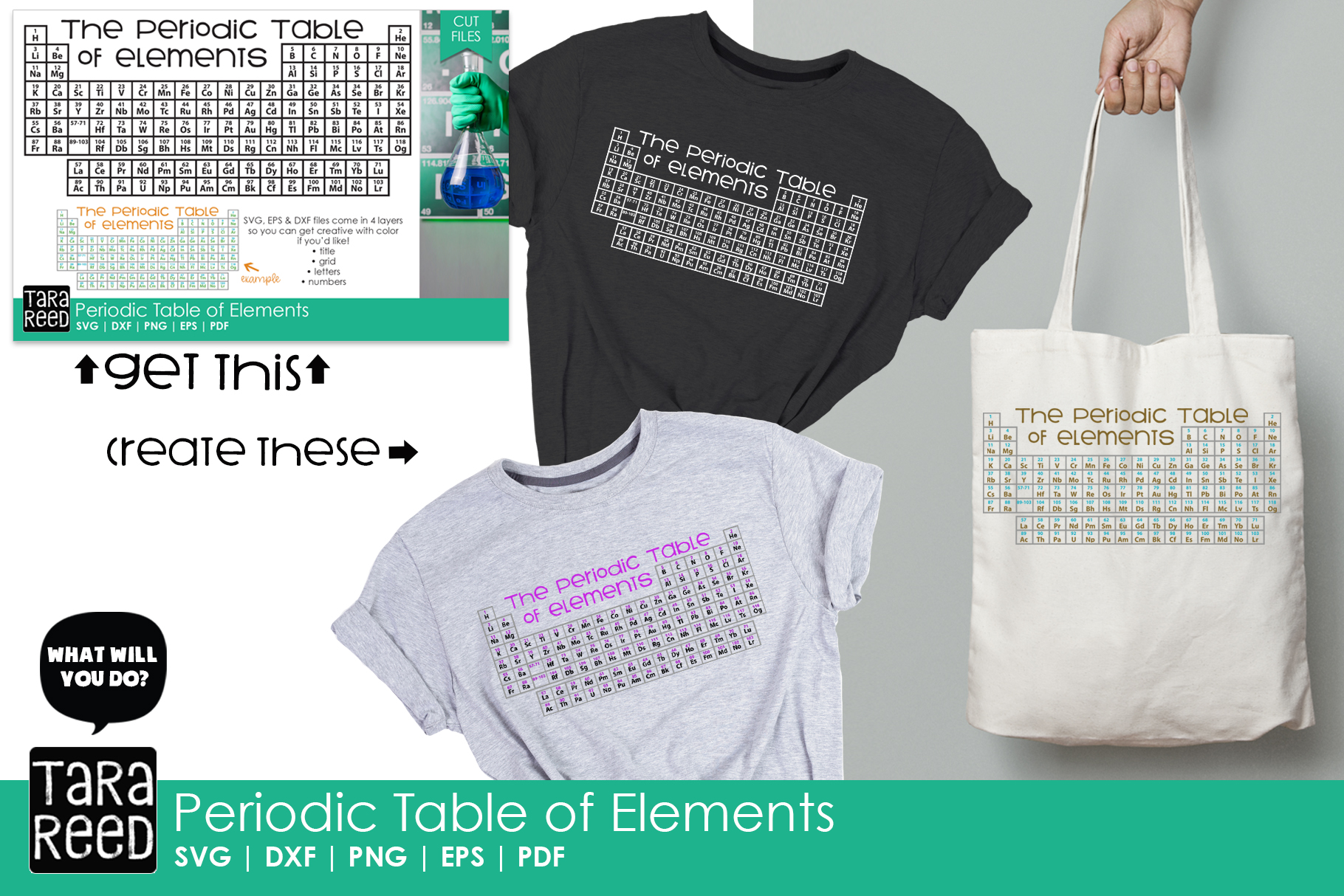 Periodic Table of Elements - Chemistry Cut Files for Crafter example image 2