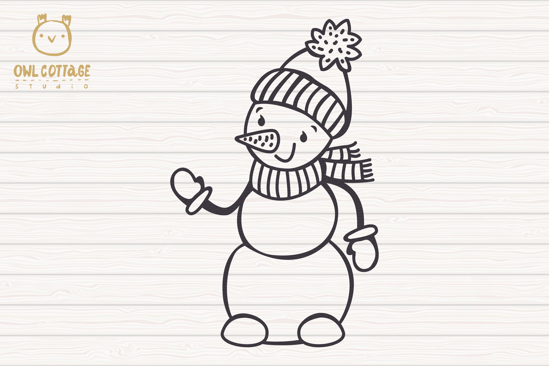 Valentine snowman, Snowman Holding gift Svg, Valentine's Day example image 3