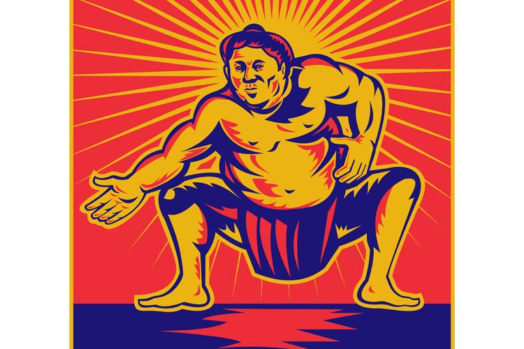 Sumo wrestler crouching retro woodcut example image 1