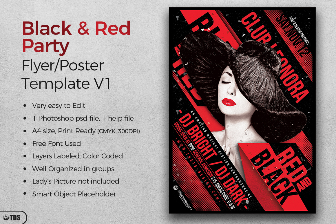 Black and Red Party Flyer Template V1 example image 2