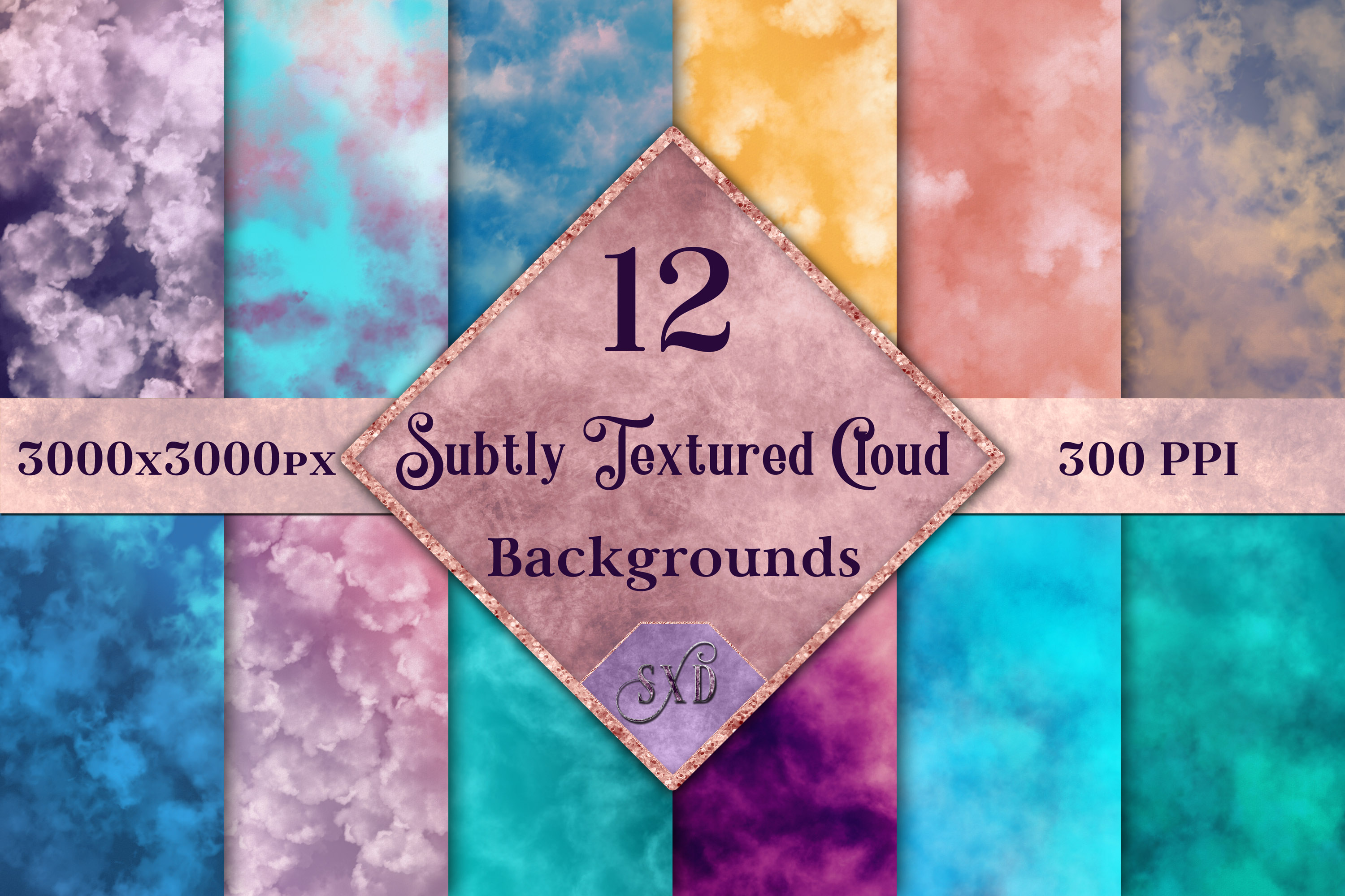 Subtly Textured Cloud Backgrounds - 12 Image Textures Set example image 1