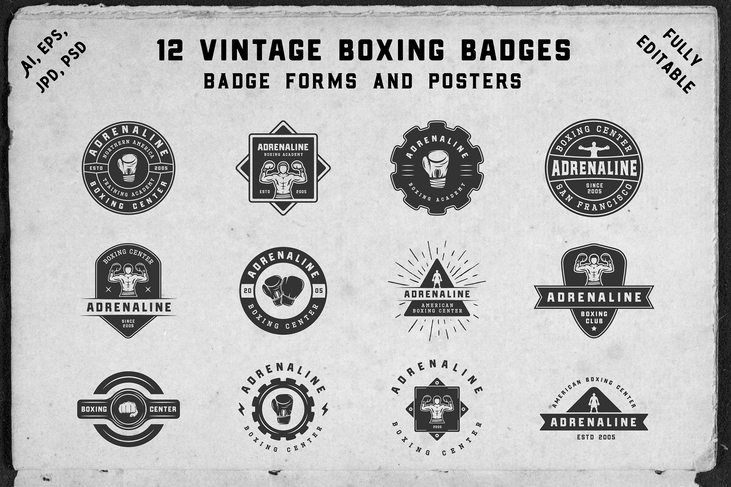 12 vintage boxing badges and forms example image 1