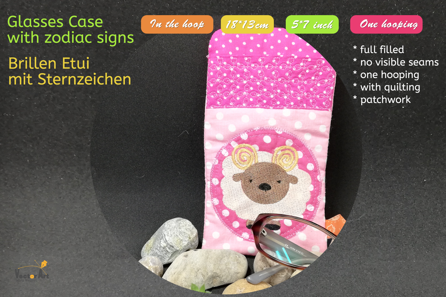 ITH - Glasses Case with Zodiac sign Aries - Embroidery file example image 5