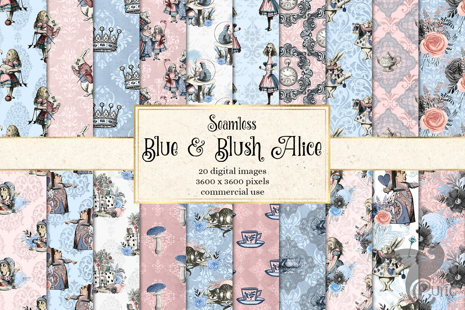 Alice In Wonderland Blue and Blush Digital Paper example image 1