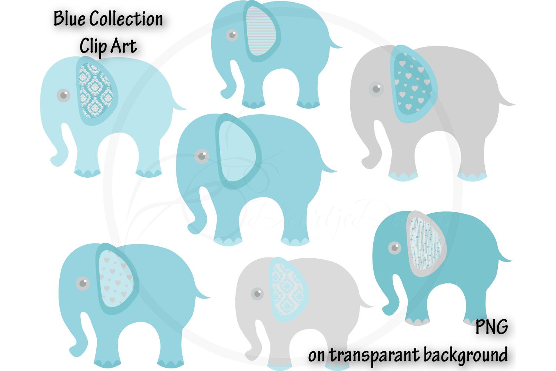 Digital Elephant Blue Clipart example image 1