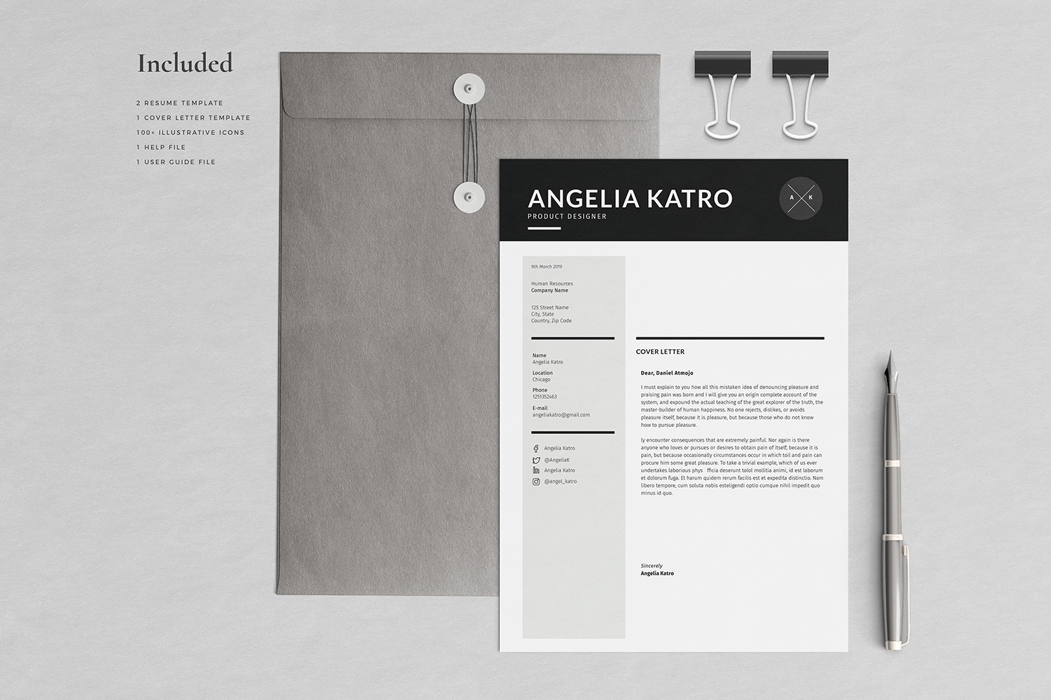 Angelia Resume with Cover Letter Professional Template example image 3