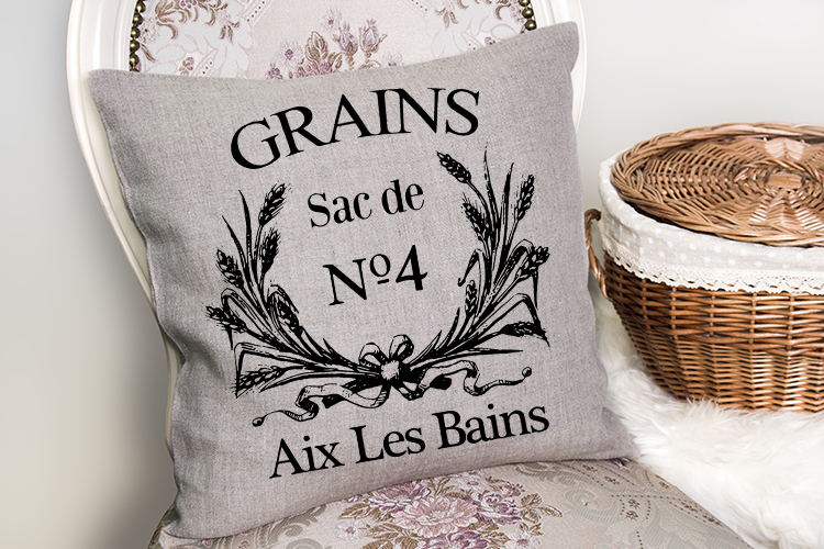 Vintage French Grain sack printable sublimation PNG SVG EPS example image 1