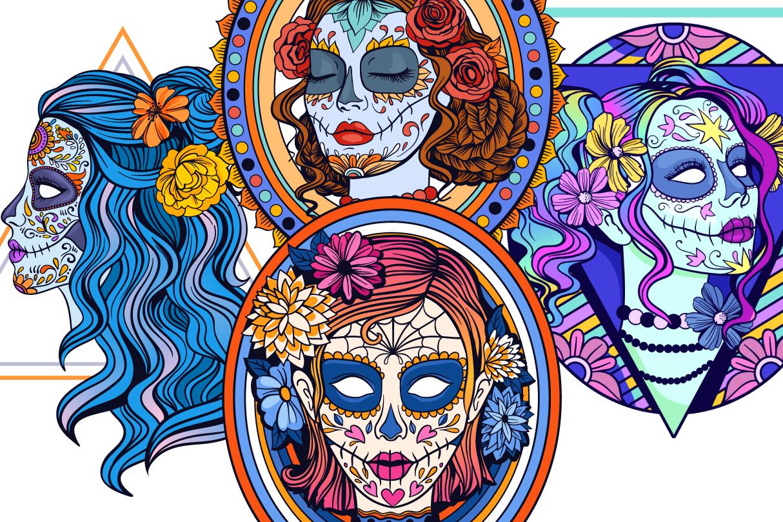 Sugar Skull SVG Collection | Calavera Ladies SVG example image 9