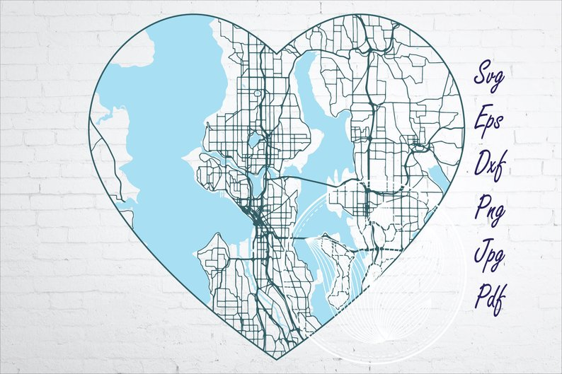 Seattle WA city road map svg, eps, dxf, png, jpg example image 1