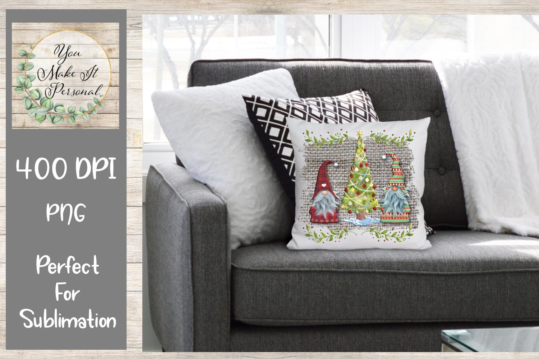 Gnome Christmas Design on Burlap Background example image 2