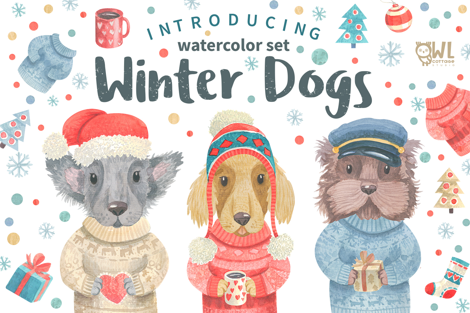 Winter Dogs Watercolor Clipart Collection example image 1