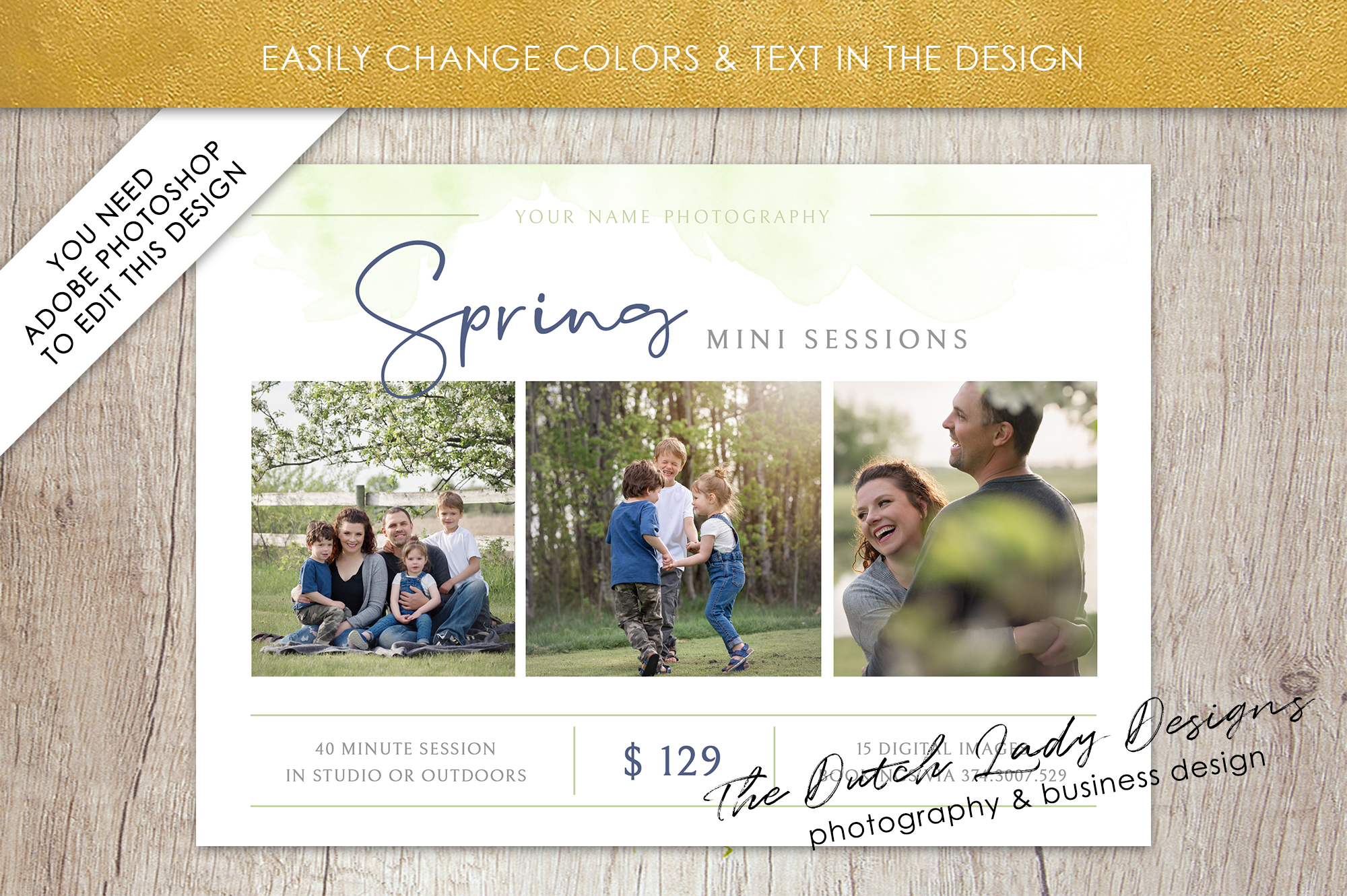 PSD Spring Photo Session Card Template - Design #38 example image 4