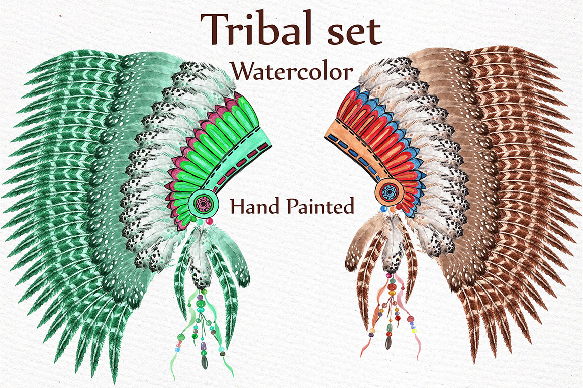 Watercolor tribal set example image 3