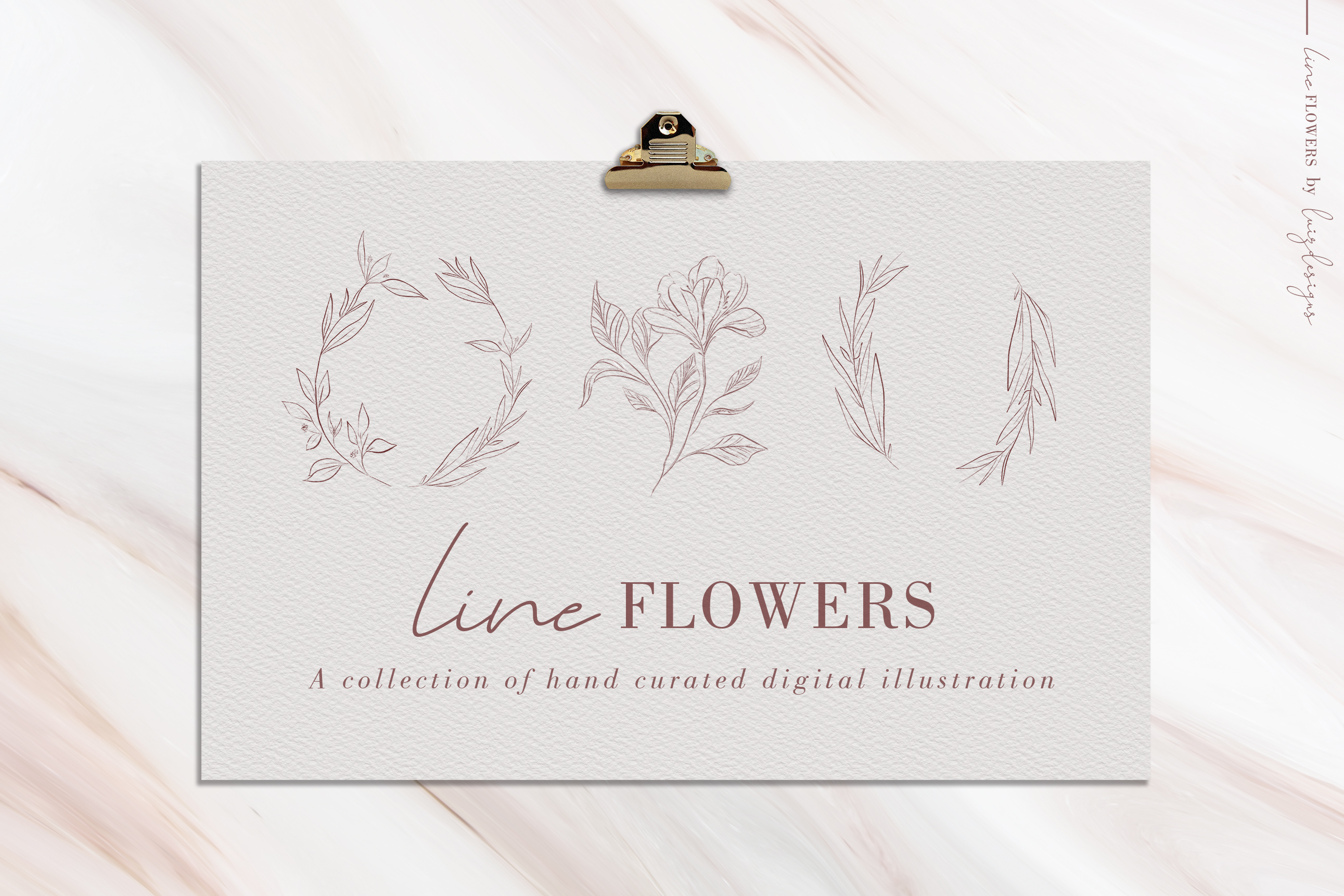 Line Flowers| Leafs Clipart example image 1