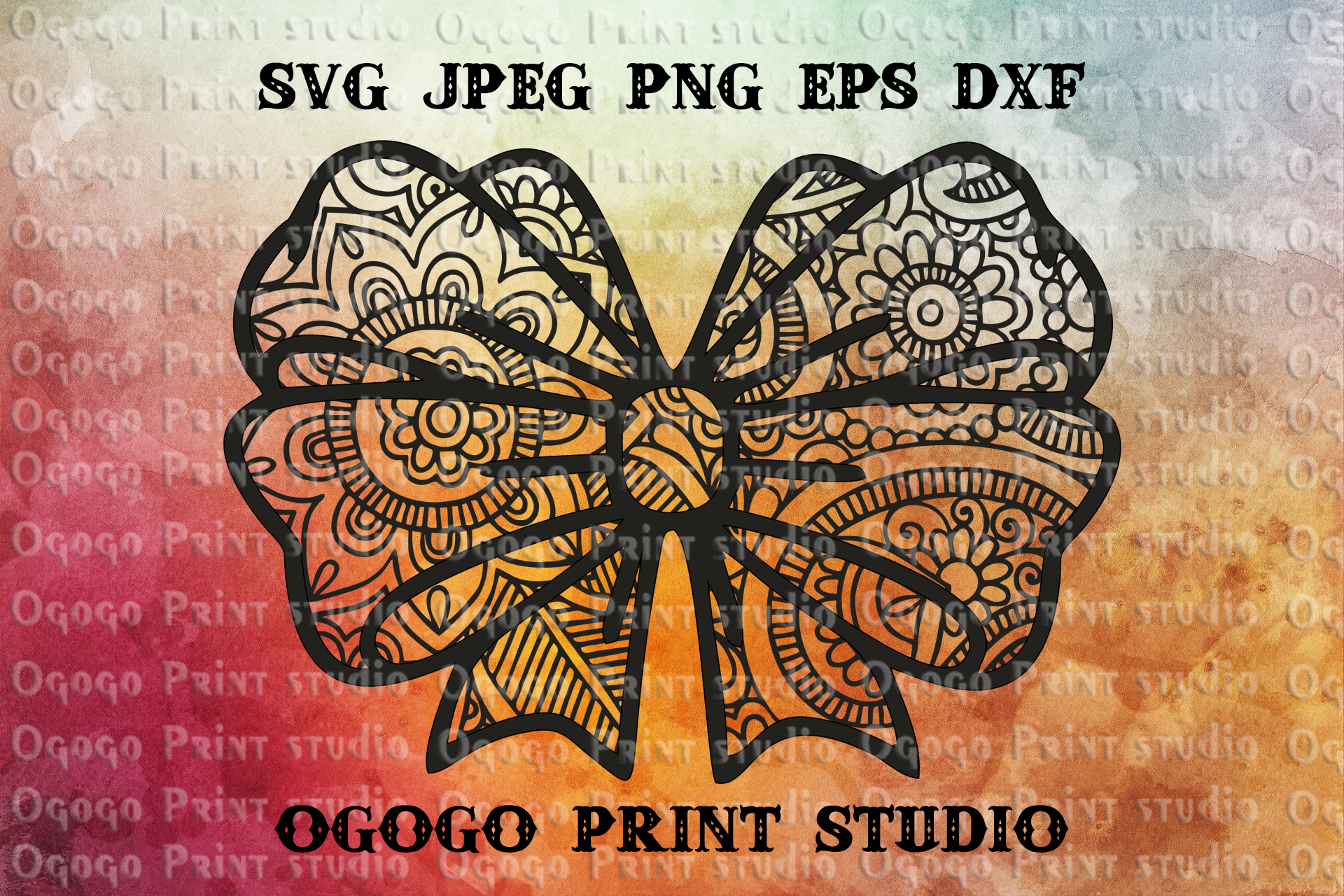 Bow SVG, Zentangle SVG, Ribbon svg, Mandala svg, Cricut file example image 1