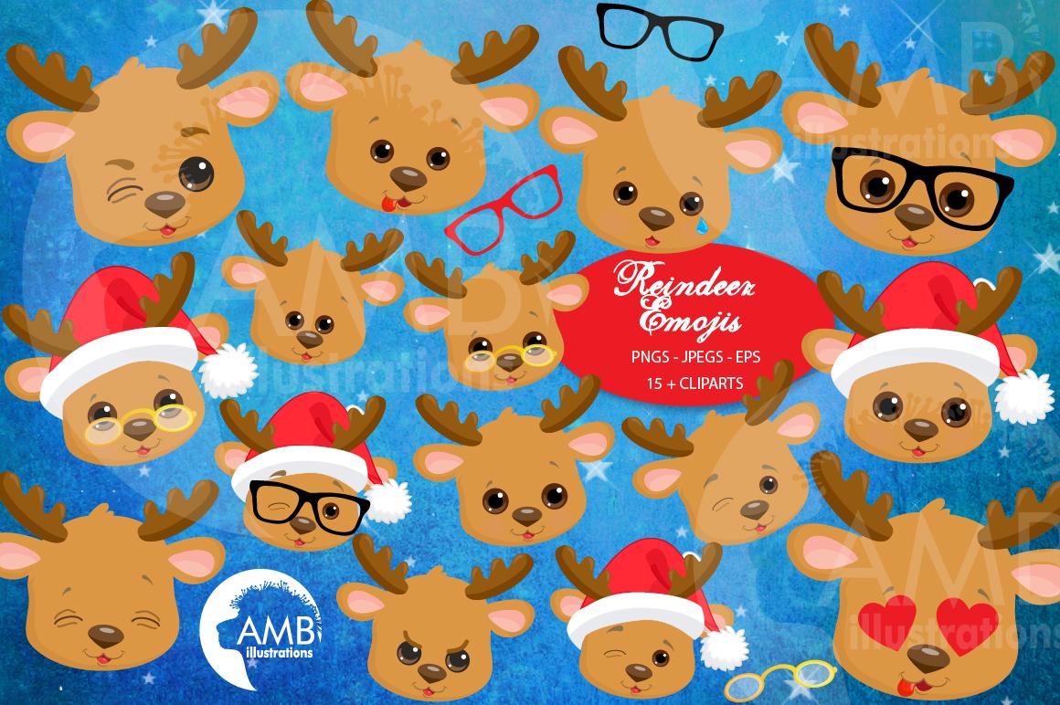 Reindeer clipart, reindeer emojis, emoticons,AMB-2696 example image 1