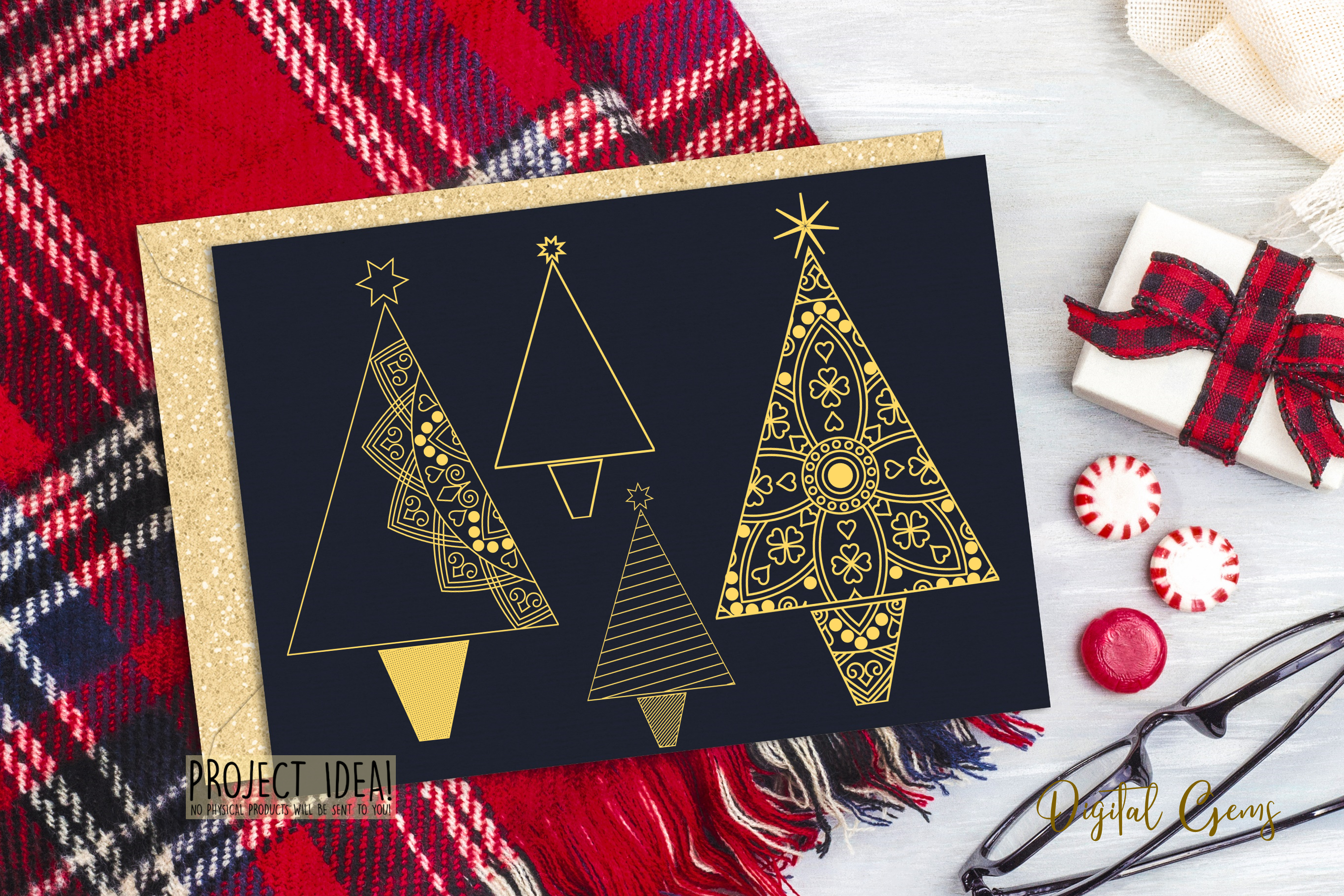 Christmas tree foil quill / sketch single line files example image 2