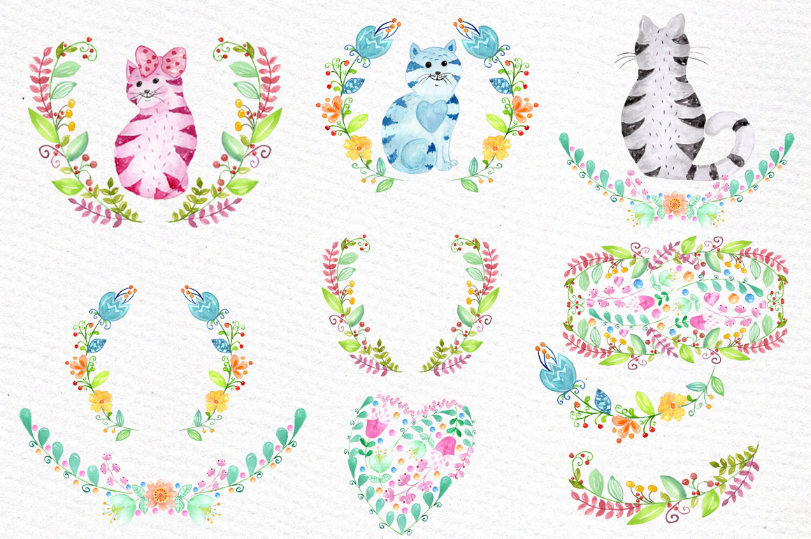 Cute watercolor cats clipart example image 2