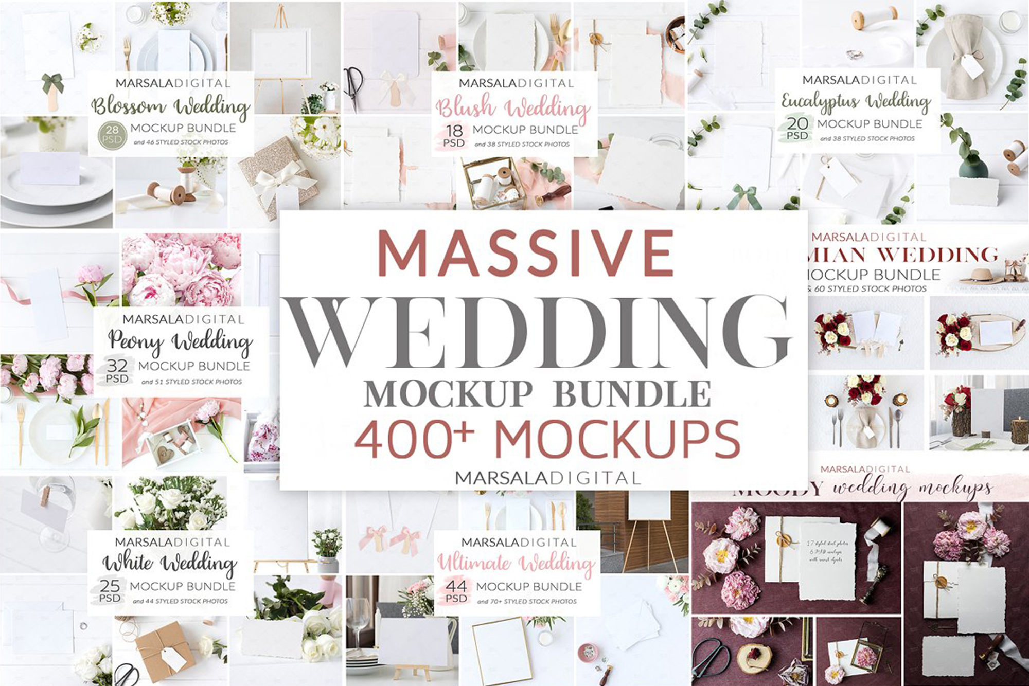 Wedding Mockup Bundle 400 Massive Wedding Mockups Bundle example image 1
