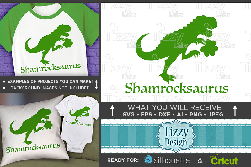 Dinosaur Svg File - Shamrockasaurus St. Patricks Day - 1067 example image 1