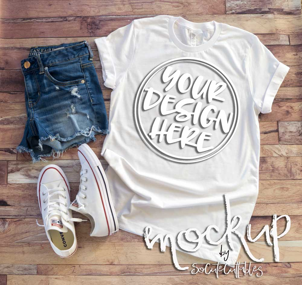 White t shirt mock up 6520 example image 2