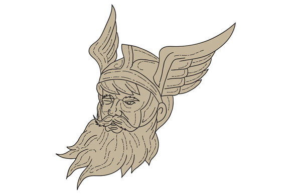Norse God Odin Head Drawing example image 1