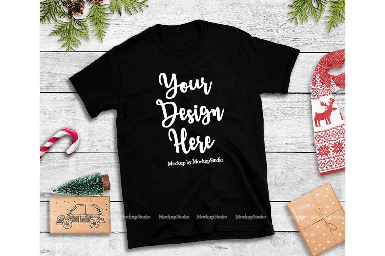 Black Christmas Tshirt Mockup Flat Lay Holiday Shirt Display example image 1