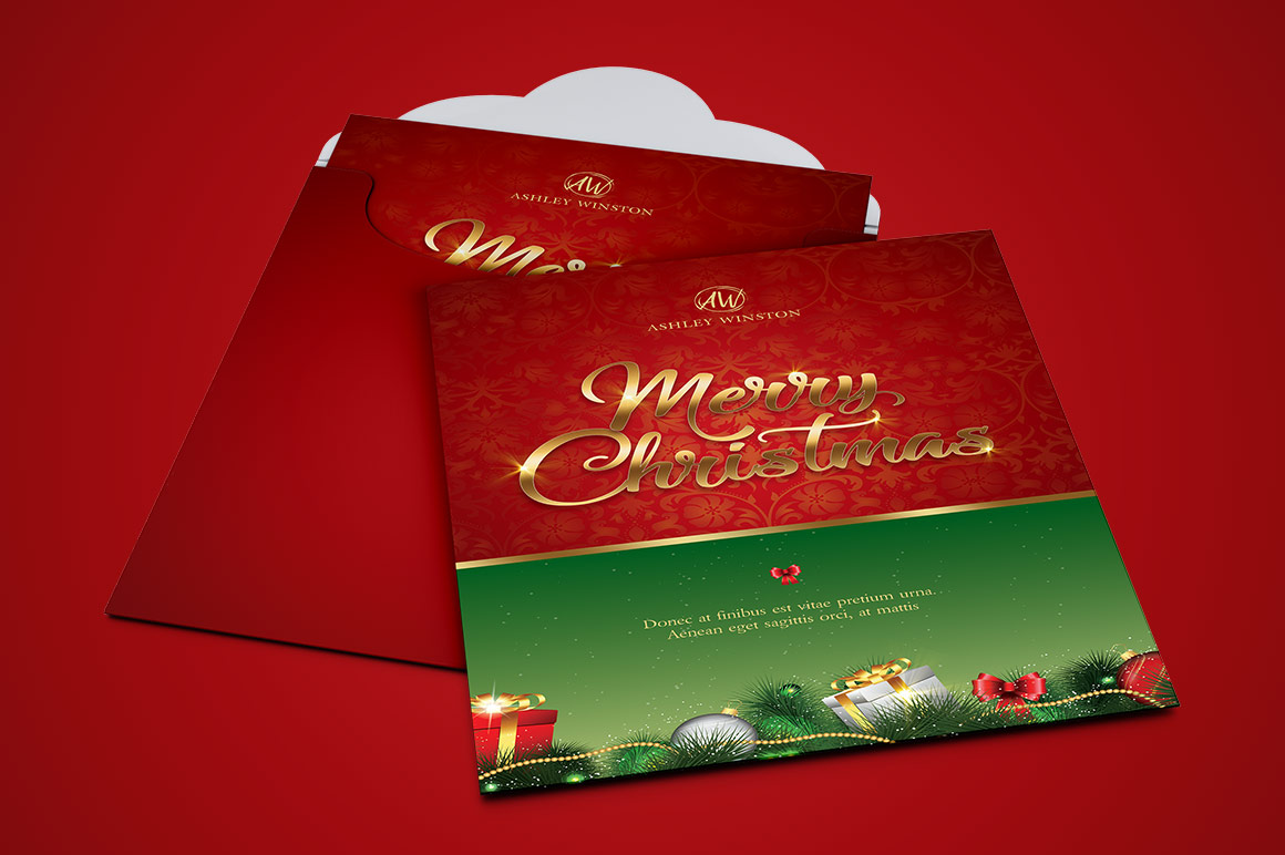Happy Christmas Greeting Card Template example image 3