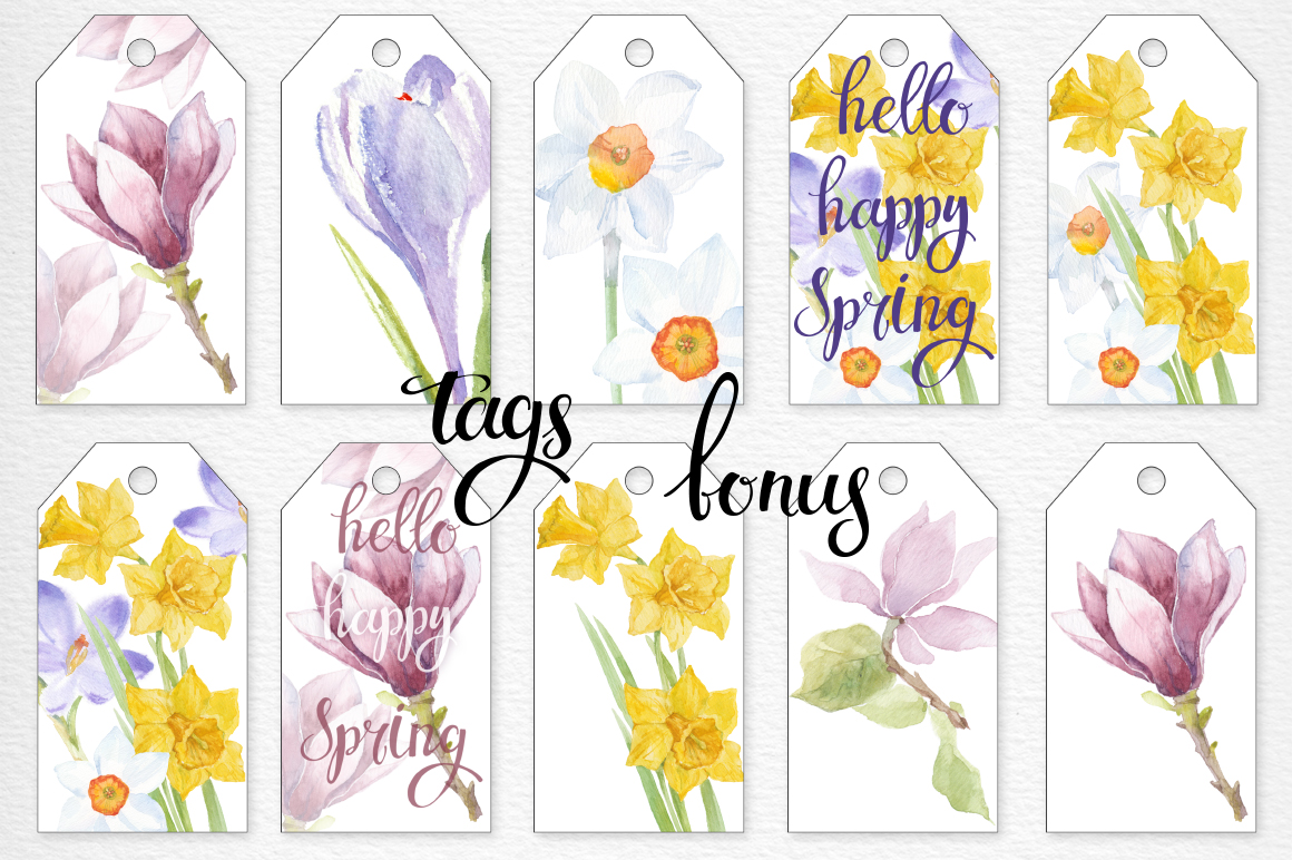 Spring flowers. Watercolor set. example image 6