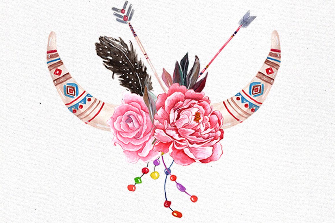 Watercolor Tribal clip art set example image 3